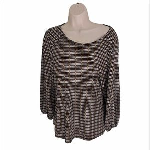 Adrianna Papell brown/yellow long sleeve blouse L